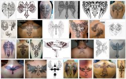 варианты тату креста с крыльями.