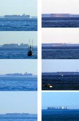 Появление двух кораблей меняется из-за явления Fata Morgana: четыре кадра во второй колонке показывают судно № 2, и четыре кадра в первой колонке - корабль № 1.