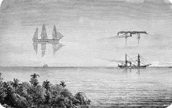 """Иллюстрация 19-го столетия, показывающая увеличенные """"superior mirage""""; миражи никогда не могут быть так далеко выше горизонта, и """"superior mirage"""" никогда не сможет увеличить длину объекта, как показано справа."""