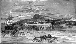 1844 рисунок под названием «Фата Моргана», как её видели в гавани Мессины.