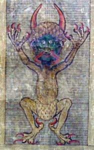 Иллюстрация дьявола на фолио 290 лицевой части Кодекса Gigas (кодекс Гигас является крупнейшим сохранившимся средневековым манускриптом в мире, размером 92 см. Он также известен как Библия дьявола из-за очень необычного полностраничного портрета дьявола и легенды, окружающие его создание), начиная с начала тринадцатого века.