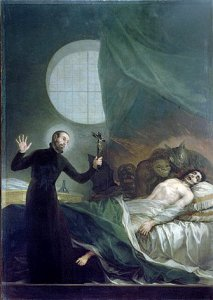 Живопись 1788 Франсиско Гойи изображение святого Франциска Борджиа проведение экзорцизма. В ранний современный период экзорцизм рассматривался, как проявления Божьей власти над Сатаной.