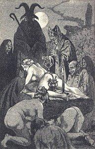 В раннем современном периоде ведьмы, как широко полагалось, участвовали в откровенных сатанинских ритуалах с демонами, таких как тот, который показан на этой иллюстрации Мартина ван Маэля, издания 1911 года «Сатанизм и колдовство» Жюля Мишле.