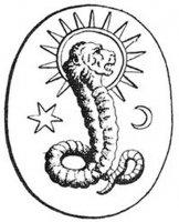 Лев лица божества, найдено на гностическом драгоценном камне в Bernard de Montfaucon's, может быть изображением Демиурга.