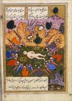 Иблис (вверху справа на картинке) отказывается простираться перед вновь созданным Адамом