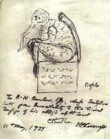 Единственный известный рисунок Великого Ктулху от Лавкрафта.