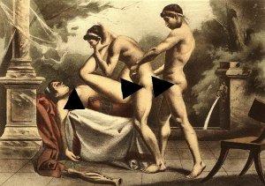 Картина Эдуарда-Анри Аврила: сек*с втроем с двумя мужчинами и женщиной.