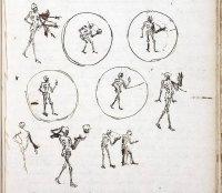 Наброски Гюйгенса 1659 года для проекции смерти, снимающей свою голову.