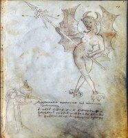Рисунок Джованни Фонтаны из 1420 года, фигуры с фонарем, изображающим крылатого демона.